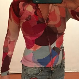 Designer red abstract art sweater